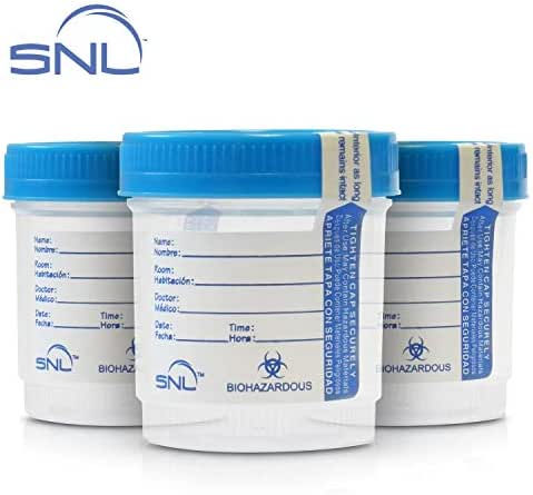 SNL Quality Sterile Specimen Cups, Screw-on Cap with Tamper Evident Seal, 3oz, Blue Cover - Pack of 3