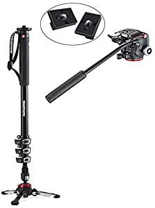 Manfrotto XPRO Four-Section Aluminum Monopod with Two-Way Head with Fluidity Selector Plus Two Bonus Replacement Quick Release Plates for the RC2 Rapid Connect Adapter