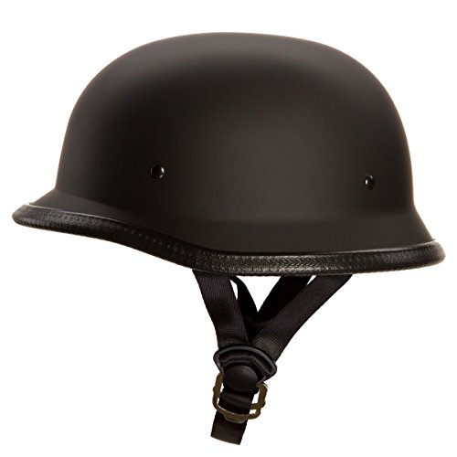 - Low Profile Novelty German Half Chopper Helmet Skull Cap Matte Black (L)