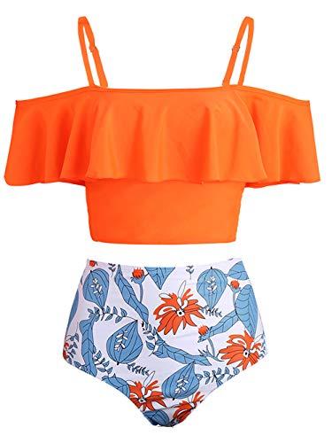 Kaei&Shi Strapless,Strappy Swimwear,Leaf High Waisted Flounce Bikini Set,Tummy Control Swimsuits for Women,Off Shoulder Bathing Suit Orange Leaf Large
