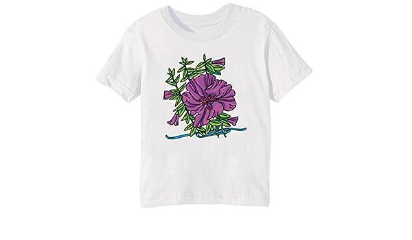Flor de la genciana morada Niños Unisexo Niño Niña Camiseta Cuello Redondo Blanco Manga Corta Tamaño XL Kids Unisex Boys Girls T-shirt White X-Large Size XL: Amazon.es: Ropa y accesorios