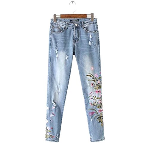 Women Skinny Jeans Butt Lift Hip Denim Pants Flowers Embroidered Printed Low Rise Jeans (X-Large)
