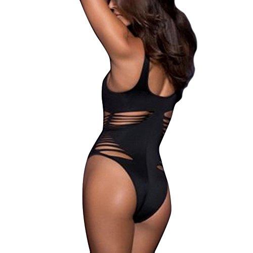 Nuevas mujeres atractivas de una pieza empuja hacia arriba del bikini del vendaje de Monokini del traje de baño de baño Negro