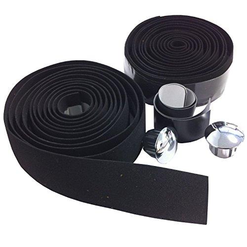 VeloChampion EVA Cork Lenkerband mit Endkappen - In verschiedenen Farben erhaltlich (Schwarz) Handlebar Tape Black