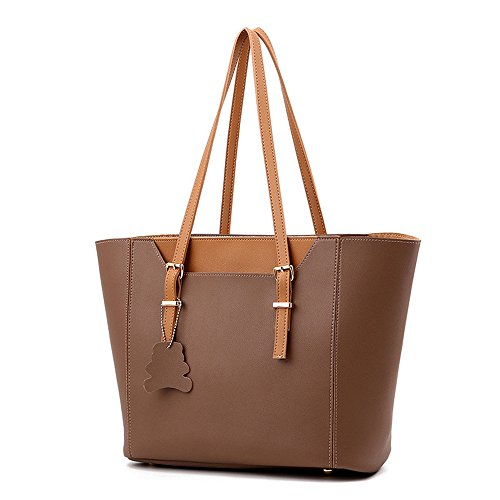 New Arrive 2 pc Set Large Snap Pocket Tote Multifunction Top Handle Work Place Handbags, Khaki by H.Tavel