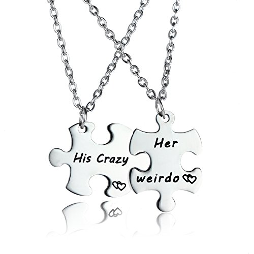 2PCs His Crazy Her Weirdo Couples Keychains Set, Couple Necklace Set, Personalized Couples Jewelry, Gift for Boyfriend Girlfriend Lover (Necklace Set)