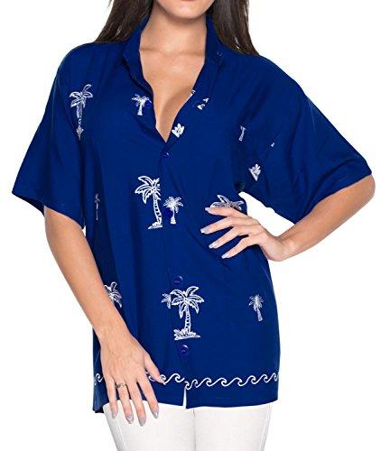LA LEELA Rayon  Tunic Casual Embroidery Shirt Royal Blue|M - US 36 - 38D