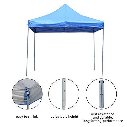 DOIT 10ft x 10ft Outdoor Portable Pop Up Shade Instant Folding Canopy,Party Tent,Height Adjustment,Sturdy High Grade Steel Frame,Portable Wheeled Carrying Bag Blue