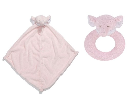Angel Dear Pink Elephant - Super Soft Security Blanket with Matching Rattle Baby Gift Set : Pink Elephant