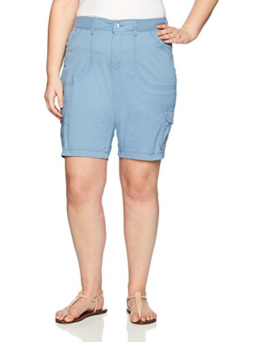 Horizon Utility Short - LEE Women's Plus-Size Relaxed Fit Diani Knit Waist Bermuda Short, Blue Horizon, 18W Medium