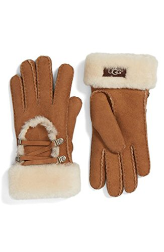 UGG Womens Lace Up Glove In Chestnut Size Large