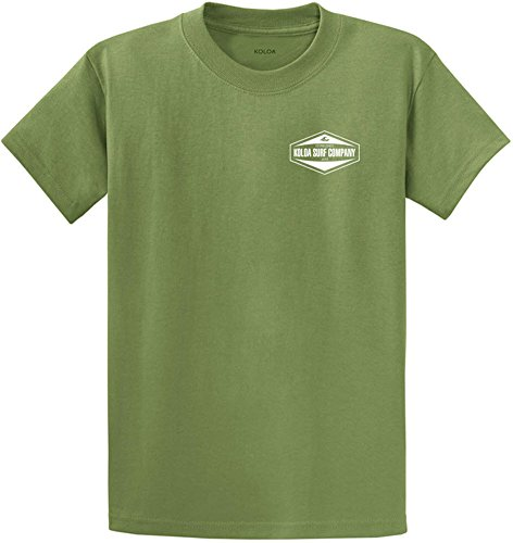 (Joe's USA Koloa Surf Hexagon 2-Side Logo Heavyweight Cotton T-Shirt-Dill/w-L)