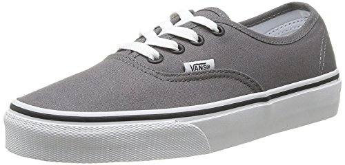 Vans Unisex Authentic Solid Canvas Skateboard Sneakers (6.5 B(M) US Women / 5 D(M) US Men, PEWTER/BLACK)]()