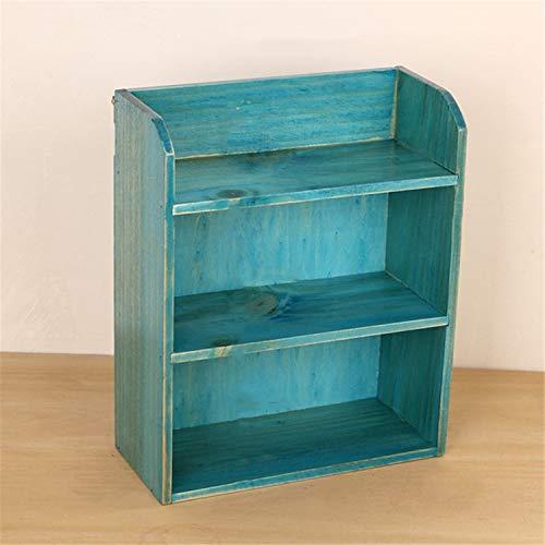 Caja de almacenamiento de cosmeticos, 3 capas de madera, retro simple, gabinete de maquillaje de escritorio de la sala de estar del dormitorio, repisa diaria casera Blue