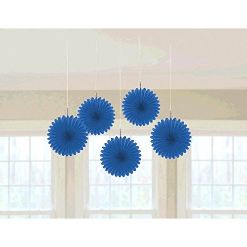 Pretty and Fun Hanging Round Mini Fan Party Decoration, Royal Blue, Paper , 6
