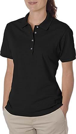 Jerzees womens 5.6 oz. 50/50 Jersey Polo with SpotShield(437W)-BLACK-S