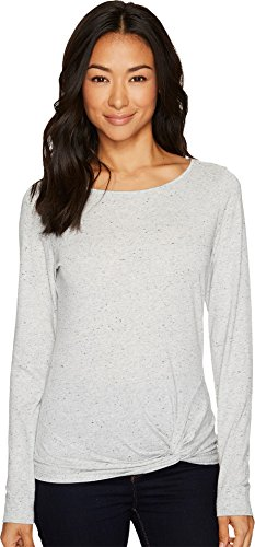 Lilla P Women's Long Sleeve Twisted Hem Grey Nep Shirt