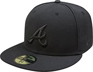 MLB Atlanta Braves Black on Black 59FIFTY Fitted Cap, 6 7/8