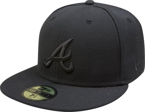 MLB Atlanta Braves Black on Black 59FIFTY Fitted Cap, 7 5/8 (Era New Atlanta Braves)