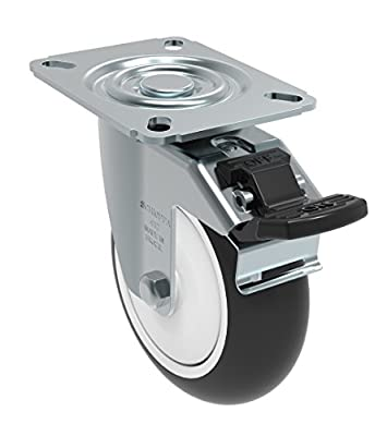 "Schioppa GL 412 NPE G L12 Series 4"" x 1-1/4"" Diameter Swivel Caster with Total Lock Brake, Non-Marking Polypropylene Precision Ball Bearing Wheel, Plate 3-1/8"" x 4-1/8"" (Bolt Holes 3-1/8"" x 2-1/4""), 275 lb"