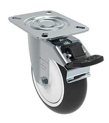 "Schioppa GL 412 NPE G L12 Series 4"" x 1-1/4"" Diameter Swivel Caster with Total Lock Brake, Non-Marking Polypropylene Precision Ball Bearing Wheel, Plate 3-1/8"" x 4-1/8"" (Bolt Holes 3-1/8"" x 2-1/4""), 275 lb"