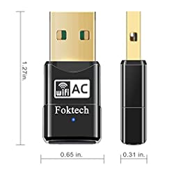 Foktech Wifi Dongle, AC600 802.11ac Dual Band 5GHz Mini Wireless Network USB Wifi Adapter for PC Desktop Laptop, Support Windows 10/8/7/Vista/XP, Mac Os X 10.6-10.14