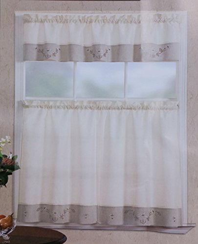 Fancy Linen 3pc Beige Taupe with Embroidered White Floral Kitchen/Cafe Curtain Tier and Swag Set ()