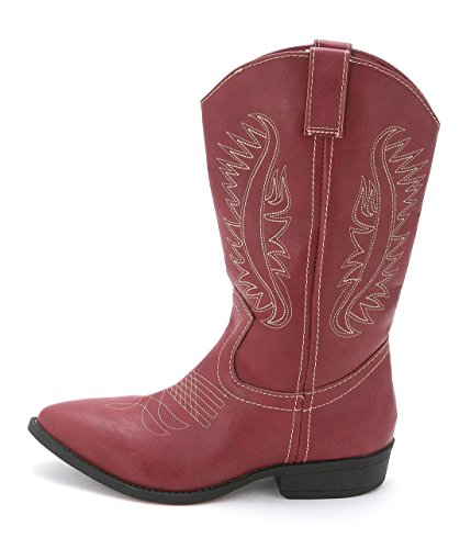 Rampage Womens Wamblee Cowboy Western Mid Shaft Boot 9.5 Red (Red Flat Boots)