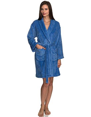 n's Robe, Plush Fleece Short Spa Bathrobe Small Blue Yonder ()