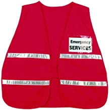 MCR Safety ICV204 Incident Command Polyester/Cotton Safety Vest with 1-Inch White Reflective Stripe, Red