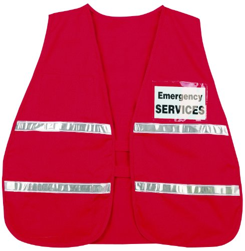 (MCR Safety ICV204 Incident Command Polyester/Cotton Safety Vest with 1-Inch White Reflective Stripe, Red)