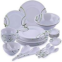 Royalford Melamine 35 pcs Melamine Ware Dinner Set, White, RF6973
