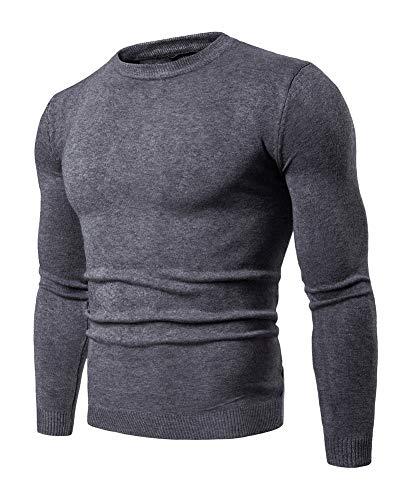 Pullover Manica Uomo Da Maglione Lunga Fit Grigio Caldo Slim Girocollo Invernale Scuro w6HqxxITAz