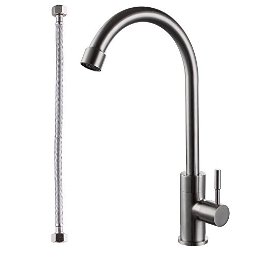 Traditional Drinking Water (BOEN LK8005A SUS304 Stainless Steel Cold Tap Single Lever Kitchen Pantry Bar Faucet Lead-Free with 24-Inch Supply Hose, Brushed Nickel)