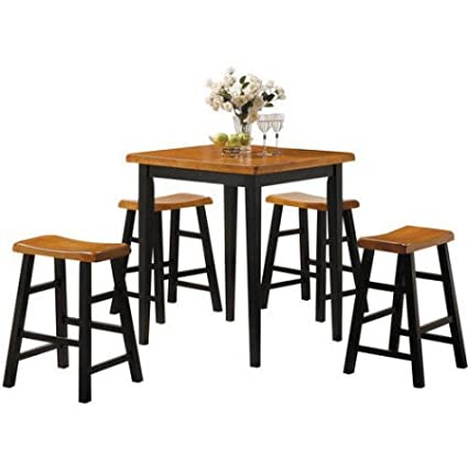 Beau 5 Piece Dining Set, Square Leg Table And Four Padded Seat, Modern Style,