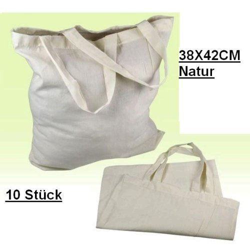 10 STÜCK Baumwolltasche Einkaufstasche Stofftasche Tragetasche Beutel Baumwolle 38 X 42 CM Natur