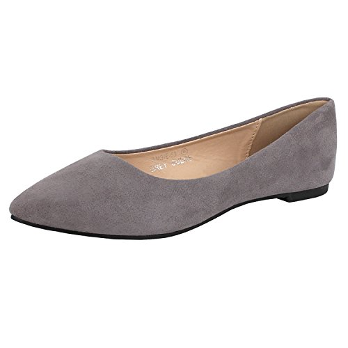 Bella Marie Angie-53 Women's Classic Pointy Toe Ballet Slip On Suede Flats Grey