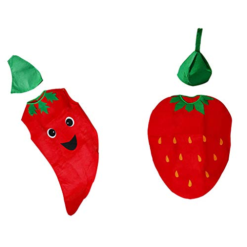 Fityle 2 Set Funny Kids Boys Girls Strawberry & Chilli Suit Kids Birthday Party Halloween Costume Fancy Dress ()