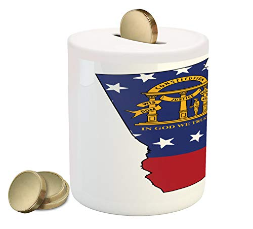 Lunarable Georgia Piggy Bank, State Map Outline Flag Peach State Constitution, Printed Ceramic Coin Bank Money Box for Cash Saving, Cobalt Blue Vermilion Earth Yellow and White