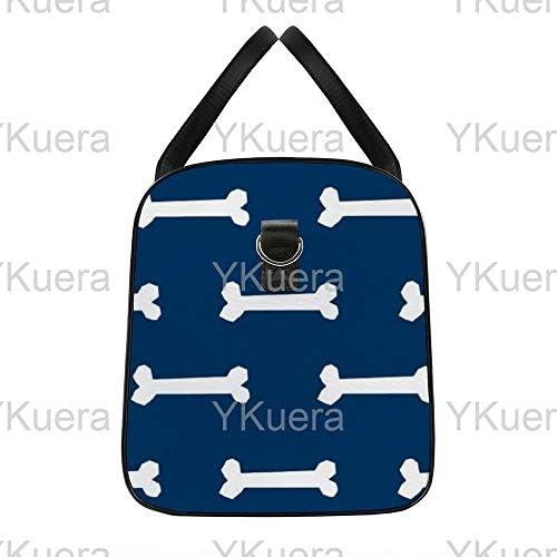 ボーンネイビーブルー1 旅行バッグナイロンハンドバッグ大容量軽量多機能荷物ポーチフィットネスバッグユニセックス旅行ビジネス通勤旅行スーツケースポーチ収納バッグ