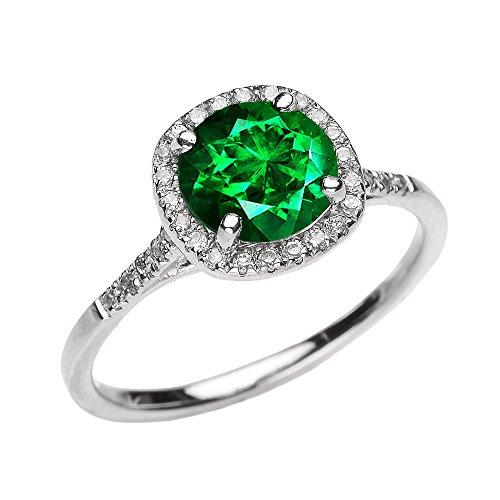 Bague Femme/ Bague De Fiançailles 10 Ct Or Blanc Diamant Et Vert Emeraude