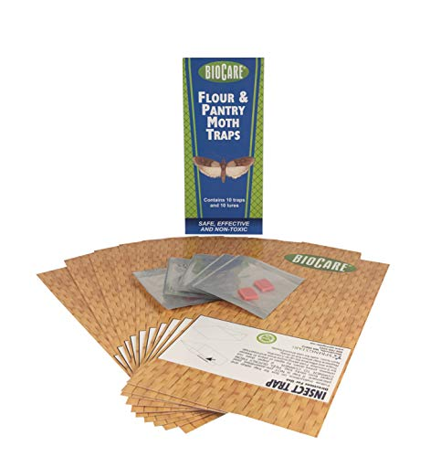 Biocare | Superior Flour & Pantry Moth Traps with Pheromone Lures (Contains 10 Complete Traps) | Non-Toxic & Pesticide Free | Child & Pet Friendly| Made in USA