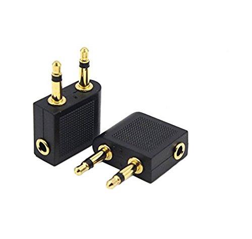 "Duttek Golden Plated Premium Quality 3.5mm 1/8"" 2 male to 1 female Headphone Jack Socket Audio adapter(2 Pack)"