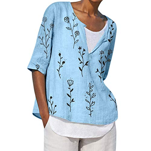Women's Sexy Tops 2019,Plus Size Women V-Neck Printing Middle Sleeve T-Shirts Easy Tops Blouses Under 10 Dollars Blue -