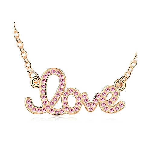 Gorgeous Jewelry Red Crystal Forever Love Pendant Diamond Accented Letter Gold Plated Women Necklace