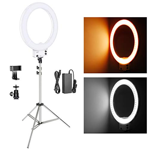 (Neewer 18-inch White LED Ring Light with Silver Light Stand Lighting Kit Dimmable 50W 3200-5600K with Soft Filter, Hot Shoe Adapter, Cellphone Holder for Make-up Video)
