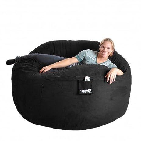 SLACKER Sack 6 Feet Memory Foam Microsuede Beanbag Chair Lounger Black