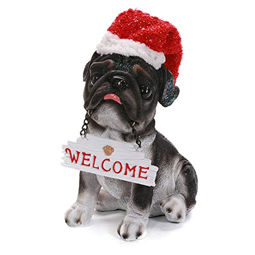 Musical Motion Sensor Christmas Pug Dog with Welcome Sign and Santa Hat - Tabletop Holiday Decoration