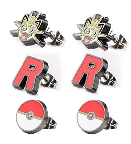 Pokemon Meowth Team Rocket R Poke Ball Stainless Steel Stud Earrings Set