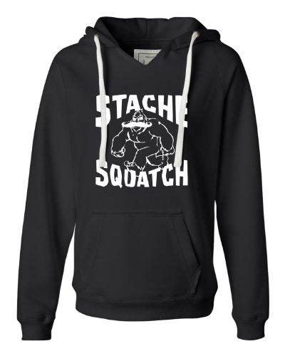 Large Black Womens Stache Squatch Funny Mustache Bigfoot Sasquatch Deluxe Soft Fashion Hooded Sweatshirt Hoodie
